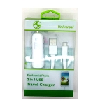 Micro V8 V9 2 in 1 Car Charger White